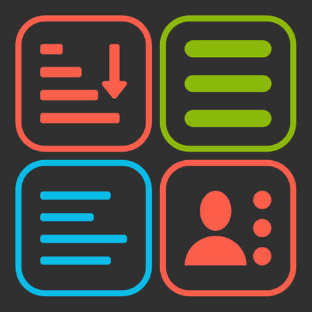 enumerate: Hamburger menu icons set. Vector green red and blue symbols collection on black background.