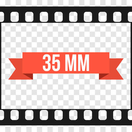 strip design: Vector 35 mm Film Strip Illustration on transparent background. Abstract Film Strip design template. Film Strip Seamless Pattern with ribbon banner text.