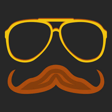 rogue: Hipster nerd glasses and stylish mustache on black. Web Banner Vector Flat Design. Vector Mustache and Glasses Icon. Hipster creative design template illustration