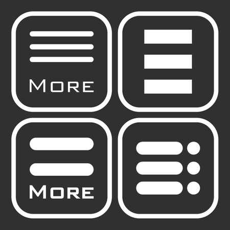 webdesigner: Hamburger menu icons set. Vector white symbols collection on black background.