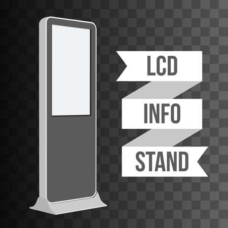 exhibitor: LCD TV Info Floor Stand. Blank Trade Show Booth. Vector illustration of kiosk machine on black transparent background. Ad template for your expo design with ribbon banner text. Illustration