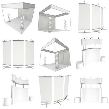 Beursstand te stellen. Roll-Up, Pop-Up met LCD-scherm Floor Stand. 3d render geïsoleerd op een witte achtergrond. Floor Stands Collection. Ad sjabloon voor uw expo design.