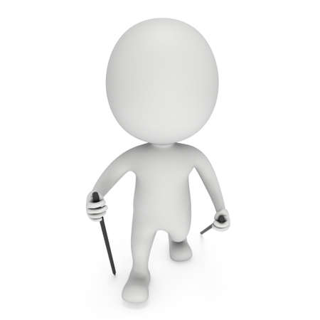 helthcare: Nordic walking white blank man. 3d render illustration isolated on white background. Concept of helthcare and fitness small people.