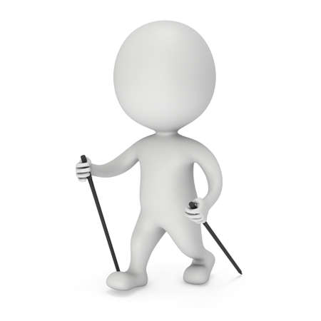 power walking: Nordic walking white blank man. 3d render illustration isolated on white background. Concept of helthcare and fitness small people.