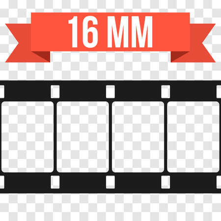 16mm: Vector 16 mm Film Strip Illustration on transparent background. Abstract Film Strip design template. Film Strip Seamless Pattern. Red banner ribbon text.