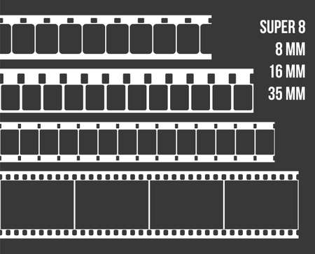 super 8: Vector Film Strip Set Illustration on black background. Abstract Film Strip Super 8 16 35mm  design template. Film Strip Seamless Pattern.