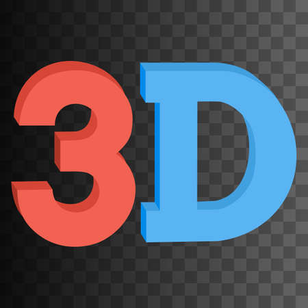 solid blue background: 3D three-dimensional button sign in solid red and blue colors icon on black transparent background. Vector illustration.