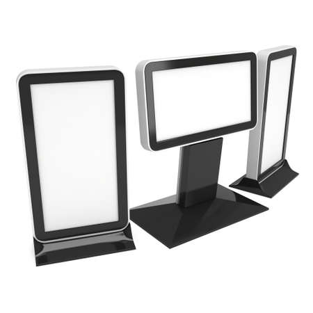 exhibidor: LCD Screen Stand. Blank Trade Show Booth. 3d render of lcd screen isolated on white background. High Resolution. Ad template for your expo design.