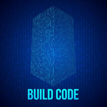 código de rascacielos. forma digital binaria del edificio futurista ciudad. llustration vector de la matriz resumen de antecedentes de la tecnología 3D. desarrollador web concepto de codificación. Ilustración de vector