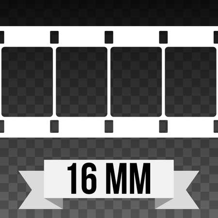square tape: 16 mm Film Strip Illustration on black transparent background. Abstract Film Strip design template. Film Strip Seamless Pattern. White banner ribbon text.