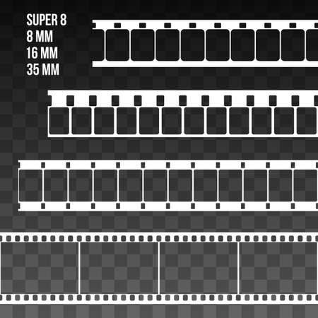 super 8: Film Strip Set Illustration on black transparent background. Abstract Film Strip Super 8 16 35mm design template. Film Strip Seamless Pattern.