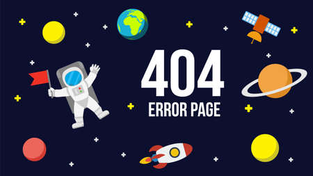 zero gravity: Universe 404 error page template for website. Outer space with astronaut, planets and rocket. Page Not Found Error 404.