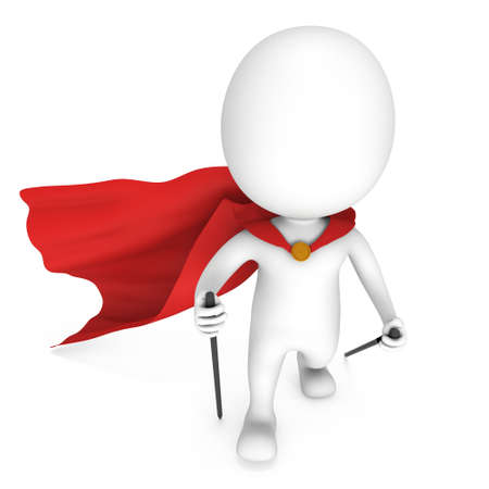 cloak: Nordic walking white superhero man with red cloak. 3d render illustration of super hero isolated on white background. Concept of helthcare and fitness small people.