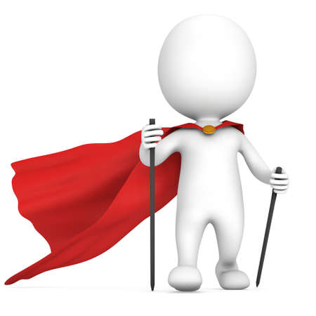 power walking: Nordic walking white superhero man with red cloak. 3d render illustration of super hero isolated on white background. Concept of helthcare and fitness small people.