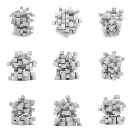 assembling: Abstract cubes set composition of boxes. 3d render illustration isolated on white. Blocks collection. Assembling concept. Teamwork Business. Stock Photo