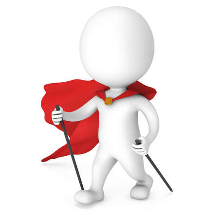 jog: Nordic walking white superhero man with red cloak. 3d render illustration of super hero isolated on white background. Concept of helthcare and fitness small people.