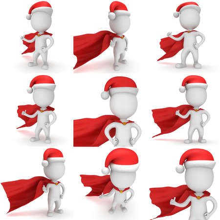 cloak: 3d man brave superhero santa with thumbs up wear red cloak and santa claus hat. 3D render set isolated on white background.