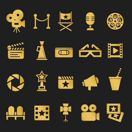 cinematograph: Cinema retro movies icons set. Template vector concept.