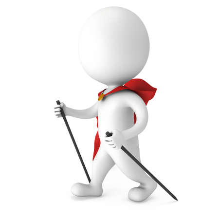 helthcare: Nordic walking white superhero man with red cloak. 3d render illustration of super hero isolated on white background. Concept of helthcare and fitness small people.