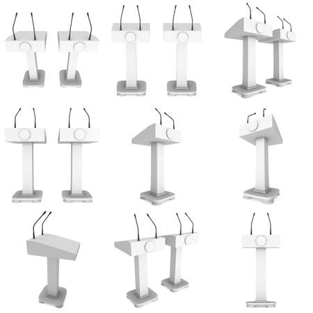 press conference: 3d Speaker Podium Set. White Tribune Rostrum Stand with Microphones collection. 3d render illustration isolated on white background. Debate, press conference concept Stock Photo