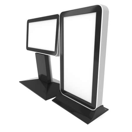 lightbox: LCD Screen Lightbox Floor Stand. Blank Trade Show Booth. 3d render of lcd screen isolated on white background. High Resolution Light Box. Ad template for your expo design. Stock Photo