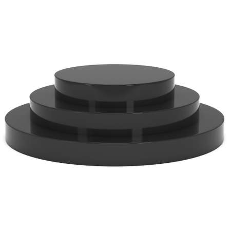 whithe: Round stage black podium for award ceremony. 3D render illustration pedestal isolated on whithe background