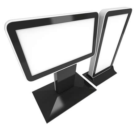 lcd screen: LCD Screen Stand. Blank Trade Show Booth. 3d render of lcd screen isolated on white background.