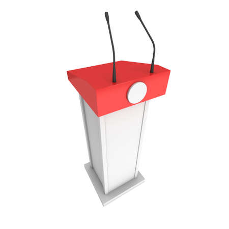 tribune: 3d Speaker Podium. White and Red Tribune Rostrum Stand with Microphones. 3d render isolated on white background. Stock Photo