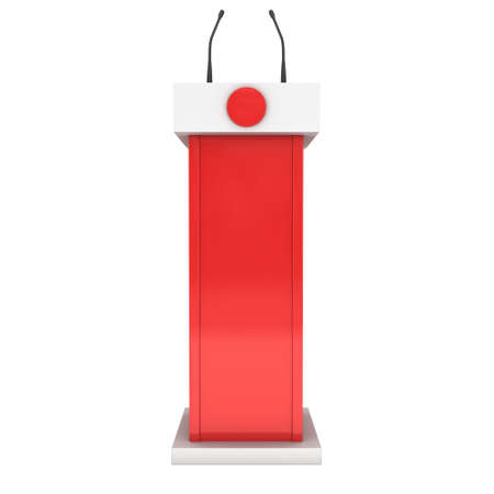 rostrum: 3d Speaker Podium. White and Red Tribune Rostrum Stand with Microphones. 3d render isolated on white background. Stock Photo