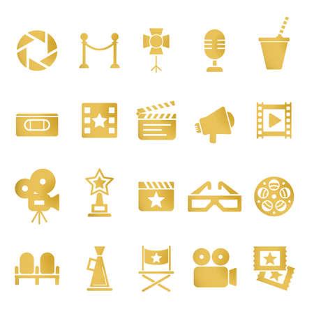vcr: Cinema retro movies icons set.