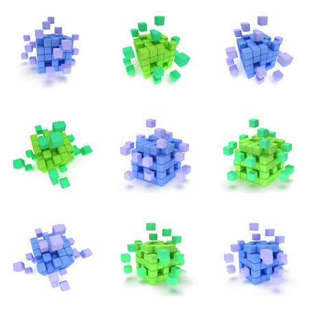 assembling: Abstract 3d cubes. set Composition of 3d cubes. 3d render illustration isolated on white. Assembling concept. Teamwork Business. 3D render icon.