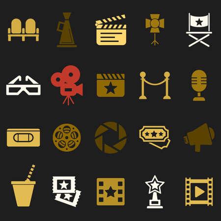 vcr: Cinema retro movies icons set. Template concept. Illustration