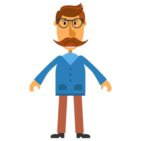Hipster nerd with glasses and stylish mustache isolated on white. Illustration