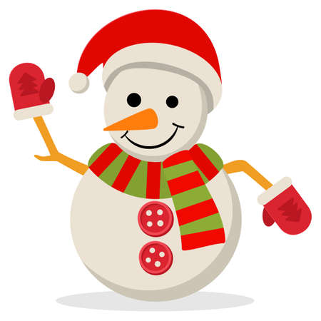 snow man party: Snow Man in santa claus cap. illustration isolated on white. Merry christmas concept with snowman in scarf gloves and hat.
