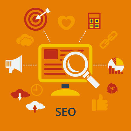 SEO infographic design concept icons for web and mobile services and apps. Illustration