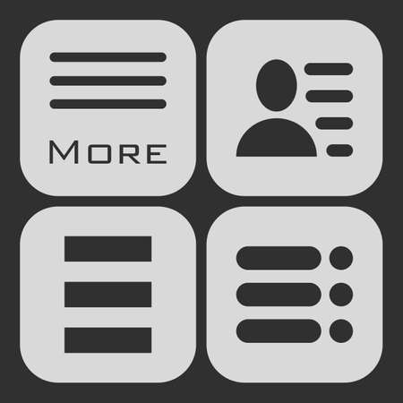enumerate: Hamburger menu icons set. white symbols collection on black background. Illustration