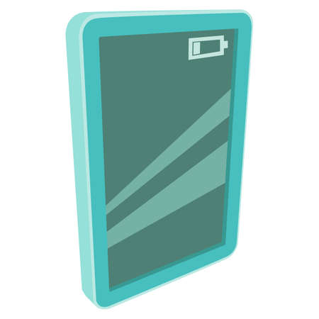 lcd screen: Tablet pc computer with battery indicator. illustration of green lcd screen pad on white background. Illustration