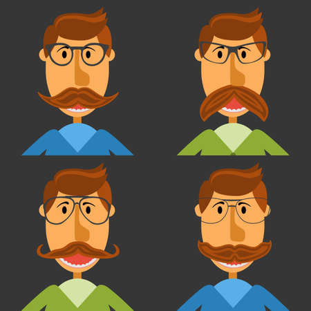 whisker characters: Hipster nerd with glasses and stylish mustache set on black.