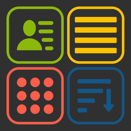 enumerate: Hamburger menu icons set. green yellow red and blue symbols collection on black background.