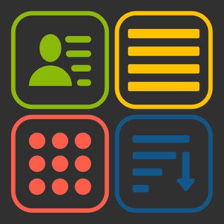 webdesigner: Hamburger menu icons set. green yellow red and blue symbols collection on black background.