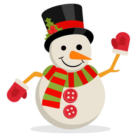 Snow Man in hat with holly branch. Illustration