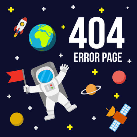 404 Error Page Template For Website. Space Landscape With Astronaut ...