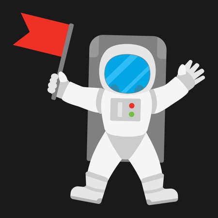 colonization: Spaceman astronaut in outer space holding red banner flag. illustration on black background.