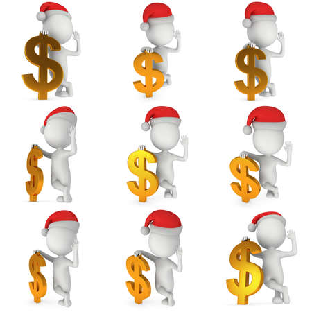 hi hat: 3d white man set in santa claus cap stand near dollar sign. 3D render illustration collection isolated on white.