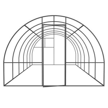 hull: Greenhouse construction frame. Hothouse building object. Warm house 3d render illustration isolated on white. Glasshouse concept image