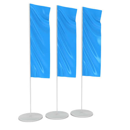 blank banner: Blue Flag Blank Expo Banner Stand. Trade show expo booth. 3d render illustration isolated on white background. Template mockup for your expo design.