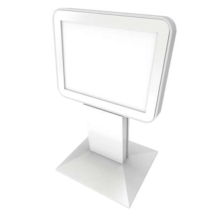 lcd screen: LCD Screen Stand. Blank Trade Show Booth. 3d render of lcd tv isolated on white background. High Resolution. Ad template for your expo design.