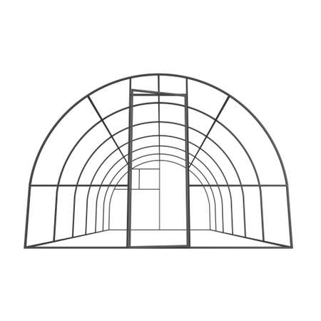 construction frame: Greenhouse construction frame. Hothouse building object. Warm house 3d render illustration isolated on white. Glasshouse concept image