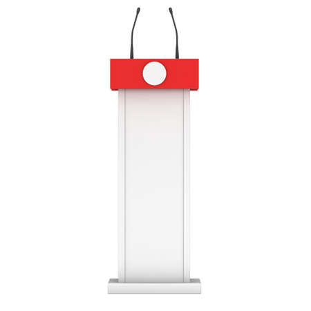 rostrum: 3d Speaker Podium. White and Red Tribune Rostrum Stand with Microphones. 3d render isolated on white background. Debate, press conference concept