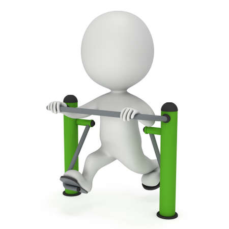 machine man: Active 3D man exercising on outdoor fitnes trainer machine. Fit sporty man working out at outdoor gym. Sport fitness and healthy lifestyle concept. 3D render isolated on white.
